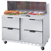 Beverage Air SPED48-12C-4 48 inch Refrigerated Salad / Sandwich Prep Table with 4 Drawers and 17 inch Wide Cutting Board