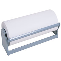 Bulman A527-18 Deluxe 18 inch Gray Steel All-In-One Paper Dispenser / Cutter with Serrated Blade