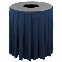Buffet Enhancements 1BCTV55SET Black Round Topper with Navy Skirting for 55 Gallon Trash Cans