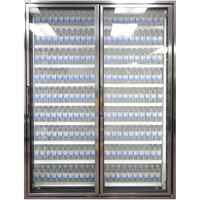 Styleline CL2672-NT Classic Plus 26 inch x 72 inch Walk-In Cooler Merchandiser Doors with Shelving - Anodized Bright Silver with Right Hinge - 2/Set