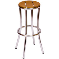 BFM Seating MS6074STKAL Norden Aluminum Outdoor / Indoor Bar Stool with Synthetic Teak Seat