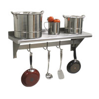 Advance Tabco PS-15-96 Stainless Steel Wall Shelf with Pot Rack - 15 inch x 96 inch