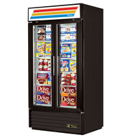 True GDM-35-HC-LD Black Glass Door Refrigerated Merchandiser with LED Lighting