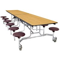 National Public Seating MTS10 10 Foot Mobile Cafeteria Table with Particleboard Core and 12 Stools