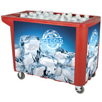 280 Qt. Red Merchandiser / Cooler Push Cart - 53 inch x 30 inch x 39 inch