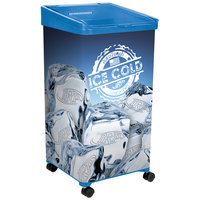 32 Qt. Blue Micro Mobile Merchandiser / Cooler with LED Light - 16 inch x 16 inch x 32 inch