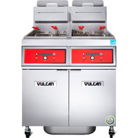 Vulcan 2VK65DF-1 PowerFry5 Natural Gas 130-140 lb. 2 Unit Floor Fryer System with Digital Controls and KleenScreen Filtration - 160,000 BTU