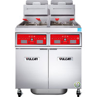 Vulcan 2VK45CF-1 PowerFry5 Natural Gas 90-100 lb. 2 Unit Floor Fryer System with Computer Controls and KleenScreen Filtration - 140,000 BTU