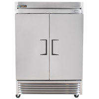 True TS-49F-HC 54 inch Stainless Steel Two Section Solid Door Reach-In Freezer - 42.1 cu. ft.