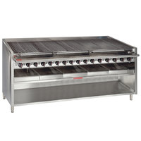 MagiKitch'n FM-RMB-672CR-NAT 72 inch Natural Gas Radiant Charbroiler with Cabinet Base - 240,000 BTU