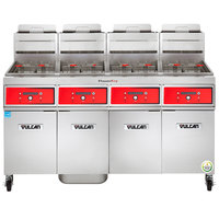 Vulcan 4VK85DF-1 PowerFry5 Natural Gas 340-360 lb. 4 Unit Floor Fryer System with Digital Controls and KleenScreen Filtration - 360,000 BTU
