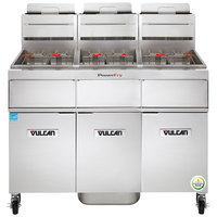 Vulcan 3VK45AF-2 PowerFry5 Liquid Propane 135-150 lb. 3 Unit Floor Fryer System with Solid State Analog Controls and KleenScreen Filtration - 210,000 BTU