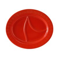 Tuxton BLZ-1444 DuraTux Coral 14 1/2 inch x 12 1/8 inch Oval Divided China Platter 6/Case
