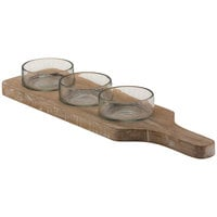 10 Strawberry Street TELL-4CDMNTRD Telluride 18 inch x 15 inch White Wash Wood Condiment Tray with 3 Round Glass Bowls