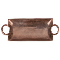 10 Strawberry Street LODO-19HNDPLTR-CPR Lodo 19 inch x 7 1/2 inch x 3 1/2 inch Raw Copper Handled Metal Tray - 6/Case