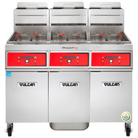 Vulcan 3VK65DF-1 PowerFry5 Natural Gas 195-210 lb. 3 Unit Floor Fryer System with Digital Controls and KleenScreen Filtration - 240,000 BTU