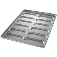 Chicago Metallic 41058 12 Mold Aluminized Steel Hoagie Bun Pan - 17 3/4 inch x 25 3/4 inch