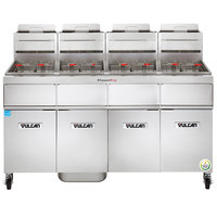 Vulcan 4VK45AF-1 PowerFry5 Natural Gas 180-200 lb. 4 Unit Floor Fryer System with Solid State Analog Controls and KleenScreen Filtration - 280,000 BTU