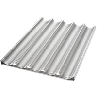 Chicago Metallic 49053 5 Loaf Aluminum Uni-Lock Baguette / French Bread Pan - 26 inch x 17 3/4 inch