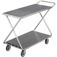 Channel STKG400H Chrome Plated Steel Stocking Truck with Solid Bottom Shelf and Handle - 46 inch x 19 inch