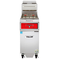 Vulcan 1TR65DF-1 PowerFry3 Natural Gas 65-70 lb. Floor Fryer with Solid State Digital Controls and KleenScreen Filtration System - 80,000 BTU