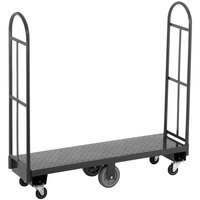 Channel U1660DS 16 inch x 60 inch Steel U-Boat Stocking Truck with Treaded Deck - 2500 lb. Capacity