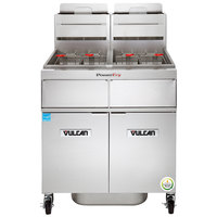 Vulcan 2TR85AF-1 PowerFry3 Natural Gas 170-180 lb. 2 Unit Floor Fryer System with Solid State Analog Controls and KleenScreen Filtration - 180,000 BTU