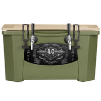 2 Faucet Olive Green 40 Qt. Grizzly Jockey BrewBox with (2) 75' Coils