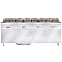 Vulcan 4ER50AF-2 200 lb. 4 Unit Electric Floor Fryer System with Analog Controls and KleenScreen Filtration - 480V, 3 Phase, 68 kW