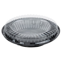 D&W Fine Pack J44-1 10 inch Black Pie Take Out Container with Clear Low Dome Lid - 160/Case