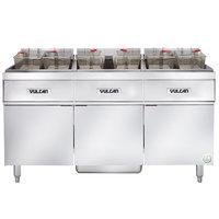 Vulcan 3ER85AF-2 255 lb. 3 Unit Electric Floor Fryer System with Analog Controls and KleenScreen Filtration - 480V, 3 Phase, 72 kW