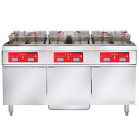 Vulcan 3ER85CF-2 255 lb. 3 Unit Electric Floor Fryer System with Computer Controls and KleenScreen Filtration - 480V, 3 Phase, 72 kW
