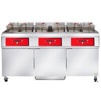 Vulcan 3ER50DF-2 150 lb. 3 Unit Electric Floor Fryer System with Digital Controls and KleenScreen Filtration - 480V, 3 Phase, 51 kW