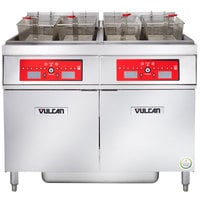 Vulcan 2ER50CF-2 100 lb. 2 Unit Electric Floor Fryer System with Computer Controls and KleenScreen Filtration - 480V, 3 Phase, 34 kW