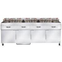 Vulcan 4ER50AF-1 200 lb. 4 Unit Electric Floor Fryer System with Analog Controls and KleenScreen Filtration - 208V, 3 Phase, 68 kW