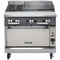 Vulcan V2BG24C-LP V Series Liquid Propane 36 inch 2 Burner Heavy-Duty Manual Range with 24 inch Right Side Griddle and Convection Oven Base - 158,000 BTU