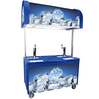 Blue IRP-2060 IDC Ice Down Mobile Draft Cart with Illuminated Canopy - (2) 1/2 Keg