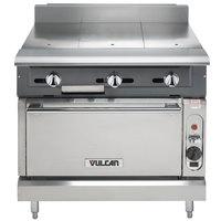 Vulcan V336HC-LP V Series Liquid Propane 3 Burner Heavy-Duty Range with 36 inch Hot Top and Convection Oven - 122,000 BTU