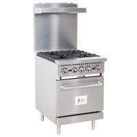 Cooking Performance Group S24-L Liquid Propane 4 Burner 24 inch Range with Standard Oven - 150,000 BTU