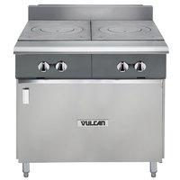 Vulcan V2FT36B-LP V Series Liquid Propane 36 inch Heavy-Duty Range with 2 French Plates and Cabinet Base - 50,000 BTU