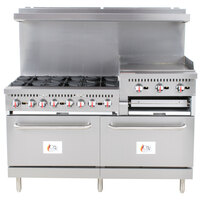 Cooking Performance Group S60-GS24-N Natural Gas 6 Burner 60 inch Range with 24 inch Griddle/Broiler and 2 Standard Ovens - 276,000 BTU
