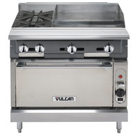 Vulcan V2BG4TC-NAT V Series Natural Gas 36 inch 2 Burner Heavy-Duty Thermostatic Range with 24 inch Right Side Griddle and Convection Oven Base - 158,000 BTU