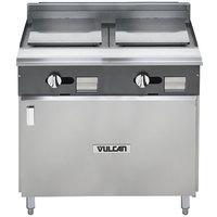Vulcan V2P36B-NAT V Series Natural Gas 36 inch Heavy-Duty Range with 2 Plancha Tops and Cabinet Base - 35,000 BTU