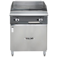 Vulcan VGT24B-NAT V Series Natural Gas 24 inch Heavy-Duty Thermostatic Range with Griddle Top and Cabinet Base - 60,000 BTU