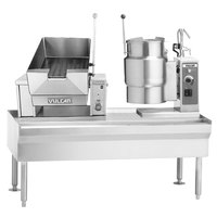 Vulcan VEKT64/B126 64 inch Table with (1) 12 Gallon Braising Pan and (1) 6 Gallon Electric Tilting Kettle - 208V, 16.5 kW