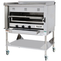 Vulcan VST4B-NAT Natural Gas Chophouse Ceramic Broiler with Griddle Top and Stand - 135,000 BTU