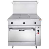 Vulcan EV36S-3HT480 Endurance Series 36 inch Electric Range with 3 Hot Tops and Oven Base - 480V, 20 kW