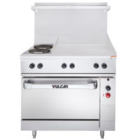 Vulcan EV36-S-2FP-24G-240 Endurance Series 36 inch Electric Range with 2 French Plates, 24 inch Griddle, and 1 Standard Oven - 240V, 15.8 kW