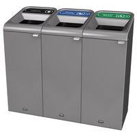 Rubbermaid 1961756 Configure 45 Gallon Stenni Gray 3 Stream Landfill, Mixed Recycling, and Organic Waste Indoor Waste / Recycling Station