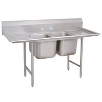 Advance Tabco 93-82-40-18RL Regaline Two Compartment Stainless Steel Sink with Two Drainboards - 81 inch